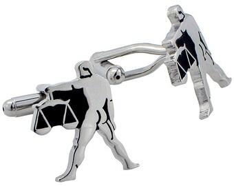Libra Atrology Sign Cufflinks Black and Silver Cuff links 1200320