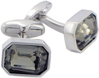 Shadow Crystal Cufflinks Silver Cuff Links 1200347