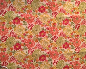 Fabric Destash 2 yds Joann Orange and Yellow Floral Cotton Quilting Clearance