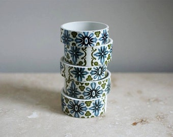 StayGoldMaryRose - Vintage 60's summery green and blue abstract pattern tea cup bracelet.