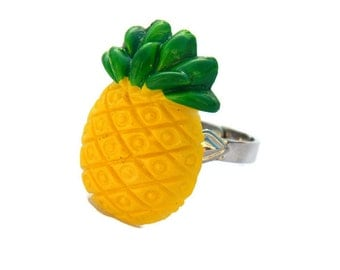 Yellow Pineapple Adjustable Ring - Pinup, Rockabilly, Retro - Tropical, Fruit - Summer