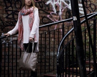 Leather Tote Bag Crocodile Print Effect