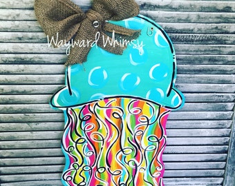 Funky JellyFish wooden Door Hanger