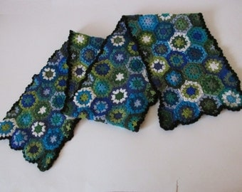 Lovely crocheted merino wool warm scarf in marine blue-green shades, granny squares, hippie, retro, kaleidoscope flowers