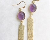 Purple  Faceted Gemstone and Gold Leaf Bar Earrings