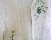 Vintage 1960's Cream Mohair Cardigan with Embroidery Flowers by Rosanna