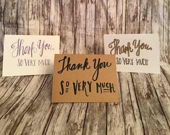 Thank You So Very Much 3-pack hand-lettered stationery set—Ready to ship!