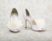 Wedding Shoes - Flower Bridal Shoes - Choose From Over 200 Colors - Choose Your Heel Size - Romantic Wedding Shoe - Bespoke Custom Shoes
