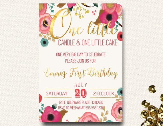 Candlelight Wedding Invitations: First Birthday Invitation Floral Boho Chic Invite One Little