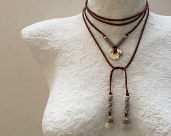 Pebble Bolo Necklace, Wrap Necklace, Simple Wrap Choker, Brown Bolo Necklace, Western Necklace, Suede Tie Necklace, Layered Necklace