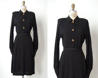 vintage 1940s dress / 40s black dress / 40s rayon dress / Medianoche dress