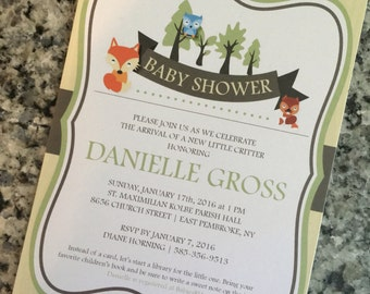 Woodland Theme Baby Shower Gender Neutral Invitation