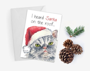 Cat Christmas Card - Grumpy Cat, Christmas Card, Holiday, Xmas, Sanat Hat, 5x7 Greeting Card