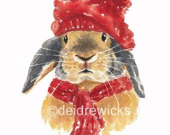 Rabbit Watercolour PRINT - Watercolor Painting, 11x14 Print, Bunny Rabbit, Cute Rabbit, Nursery Art
