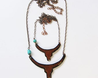 Enamel longhorn necklace Long boho chic steer head pendant Brown turquoise cowgirl western jewelry