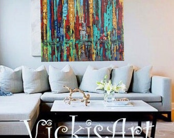 Skyline original acrylic Painting on Gallery Wrapped Canvas 36 w x 36 x hi x 1.25 Ready to Ship Free