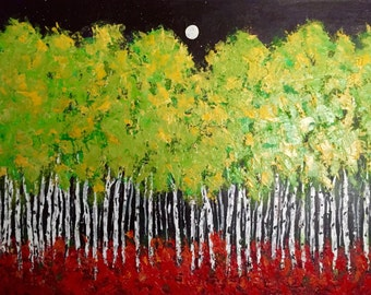 Aspen Birch Trees  Moon Acrylic Painting Extra Large 40w x 30h x.75 painting on gallery wrapped canvas Free Shipping in US