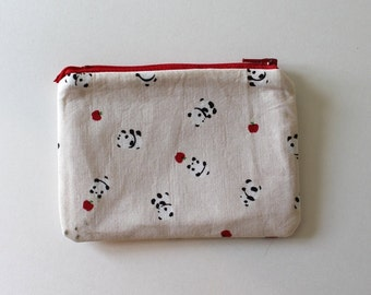 Japanese Kawaii Playful Pandas Zip Pouch - Small Zip Pouch Coin Purse Wallet - Made from Japanese import fabric