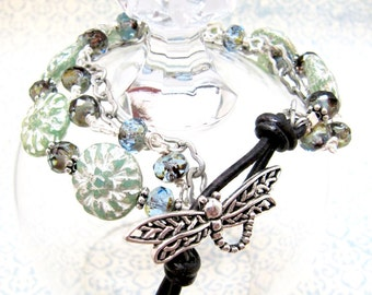 Powder Blue and Spring Green Floral Dragonfly Beaded Button Bracelet, Multi Media Stranded Leather Beaded Bracelet, Blue and Green Whimsical