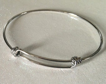 6 - 65mm Solid Stainless Steel Expandable Silver Bangle Bracelet, Adjustable Triple loop Bangles FAST SHIPPING