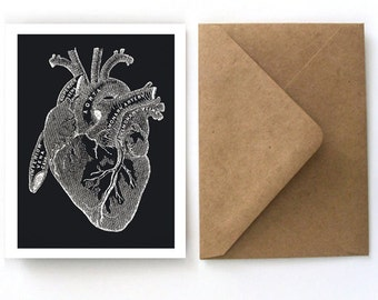 Vintage Anatomical Heart Card - Blank Card with Kraft Paper A2 Envelopes included. Romantic anatom, valentine, love letter, science - S10
