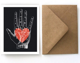Vintage Palmistry Heart Card - Blank Card with Kraft Paper A2 Envelopes included. valentine, palm reader fortune teller, love letter  - S11