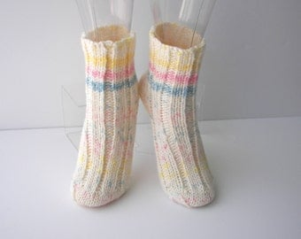 SUNSHINE: Hand Knit SOFT Wool Acrylic Socks in White multi / Unique Gift Ready to ship