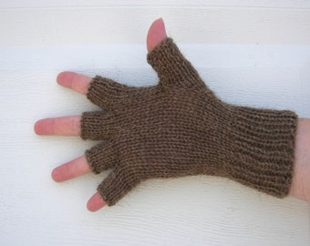 Exotic Pure CAMEL WOOL Hand Knit Half Finger GLOVES Unisex in Brown / Meaningful gift