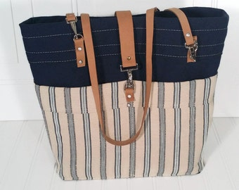 Handmade canvas and leather tote - Long leather straps - Navy blue stripe - Tote with outside pockets - Work tote - Brief case tote