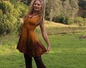 M/L Sunflower Hemp Lycra Hand Dyed Mini Willow Dress