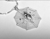 "Vintage Sterling Silver Spider's Web Spiderweb Spider Pendant Necklace 20"" chain"