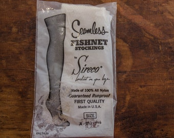 Vintage Seamless Fishnet Stockings Thigh High White Nylons Hosiery Lingerie Rare Retro Excellent New Condition Original Size A Cosplay
