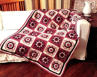 Vintage Crochet Pattern Cameo Granny Square Motif Afghan Throw Cover Printable PDF Download 1970