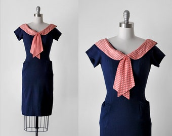 60 blue & red dress. s. 60's polka dot dress. bow. wiggle. navy blue. 1960's collared dress. xs.