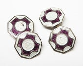 Art Deco Enamel Cuff Links - Button Stays - Burgandy and White  - Vintage 1930's - 1940's Era
