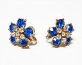 Nemo Blue Rhinestone Earrings - Stars and Flowers - Screw Back Earrings - Royal Blue Flower & Clear Rhinestone Star - 1950's Vintage Jewelry