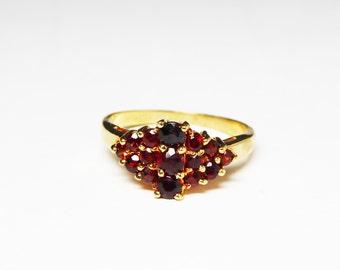 Red Garnet Cluster Ring - Vintage Band Design - Genuine Garnets -  Signed 14Kt Goldplated on Paper Tag KAS