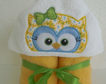 Yellow Owl Hooded Towel