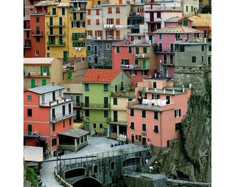 Fine Art Color Photography of Colorful Homes in Manarola Italy Along the Cinque Terre