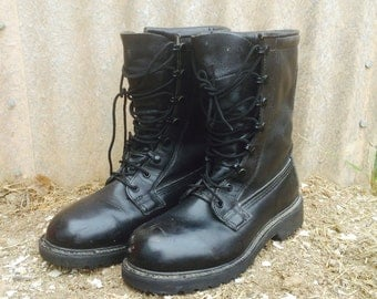 VTG Military COMBAT Lace Up Grunge Boots Black Leather Womens 8.5 |  Mens 7