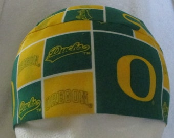 University of Oregon Ducks Chemo Cap, Skull Cap, Hat, Green, Yellow, College, Students, Football, Head Wrap, Do Rag, Cap, Handmade, Alopecia