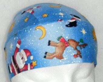 Blue Skull Cap, Chemo Cap w Santa, Reindeer, Do Rag, Hats, Helmet Liner, Motorcycle, Biker, Christmas, Surgical Cap, Alopecia, Handmade