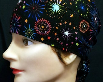 Black w Fireworks Skull Cap, Chemo Cap, 4th of July, Hats, Bright Colors, Biker, Motorcycle, Head Wrap, Bald, Hair Loss, Handmade, Alopecia