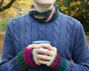Watermelon Nuzzler & Mittens Set - Gifts for Him Men's Mexican Pink and Forest Green Fingerless Mittens with Matching Circle Scarf for Men