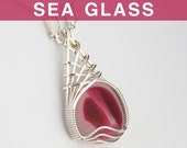 Red Multi English Sea Glass Pendant