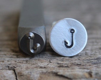 Fish Hook Metal Stamp 6mm Size-Steel Stamp-Can be used on Stainless- Design Stamps-by Metal Supply Chick-DJU81