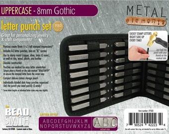Metal Stamp Set-8mm Uppercase Gothic Font -Metal Stamp kit-Metal Alphabet Set-Jewelry Stamping Tools Metal Supply Chick LPS80