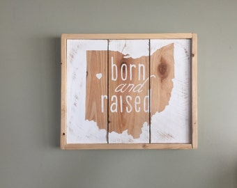 born and raised- Customized State Decor