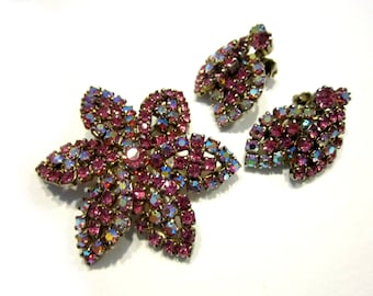 Weiss Rhinestone Brooch Set Pink Vintage Jewelry Pin Earrings Bonus Flower Brooch