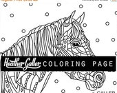 50% Off- Horse coloring, Animal coloring book, adult coloring book, coloring pages, adult coloring pages, coloring book for adults, printabl